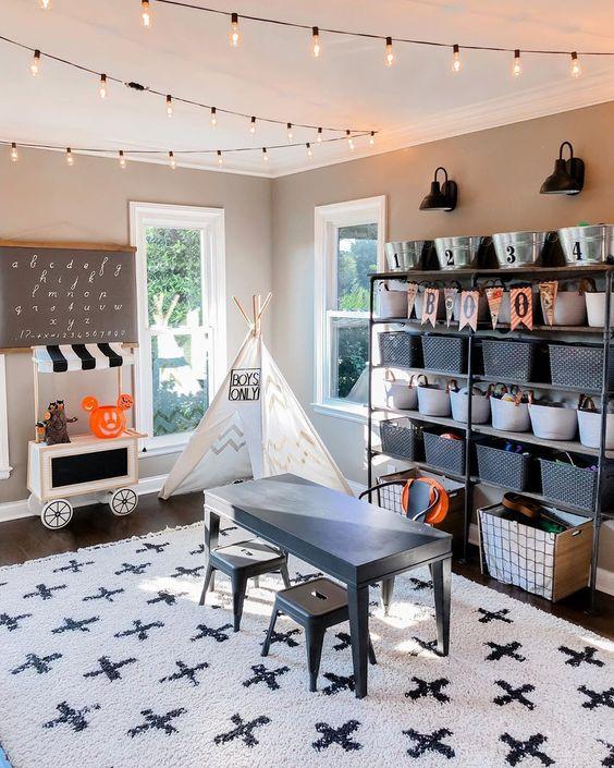 Modern Farmhouse Black and white playroom
