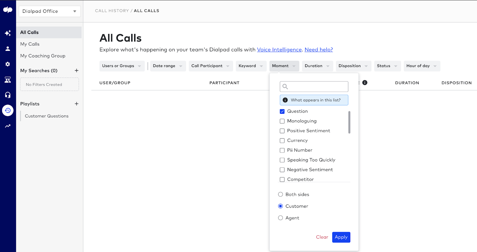 call playlists in dialpad contact center