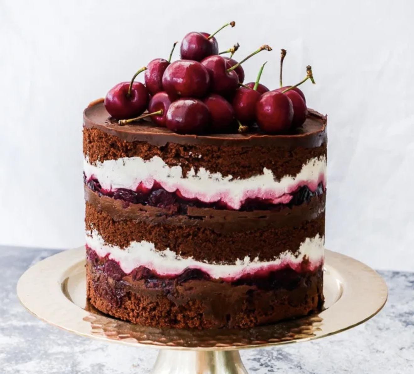 chocolate & cherry wedding cake