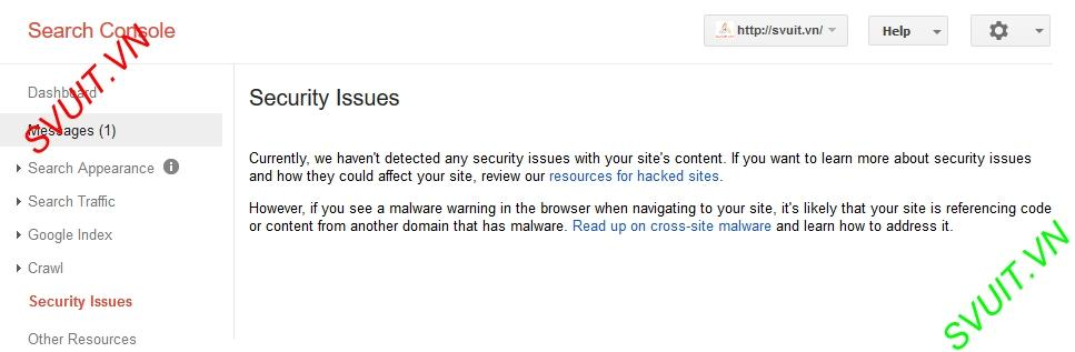 Google webmaster tools Security Issues(1)
