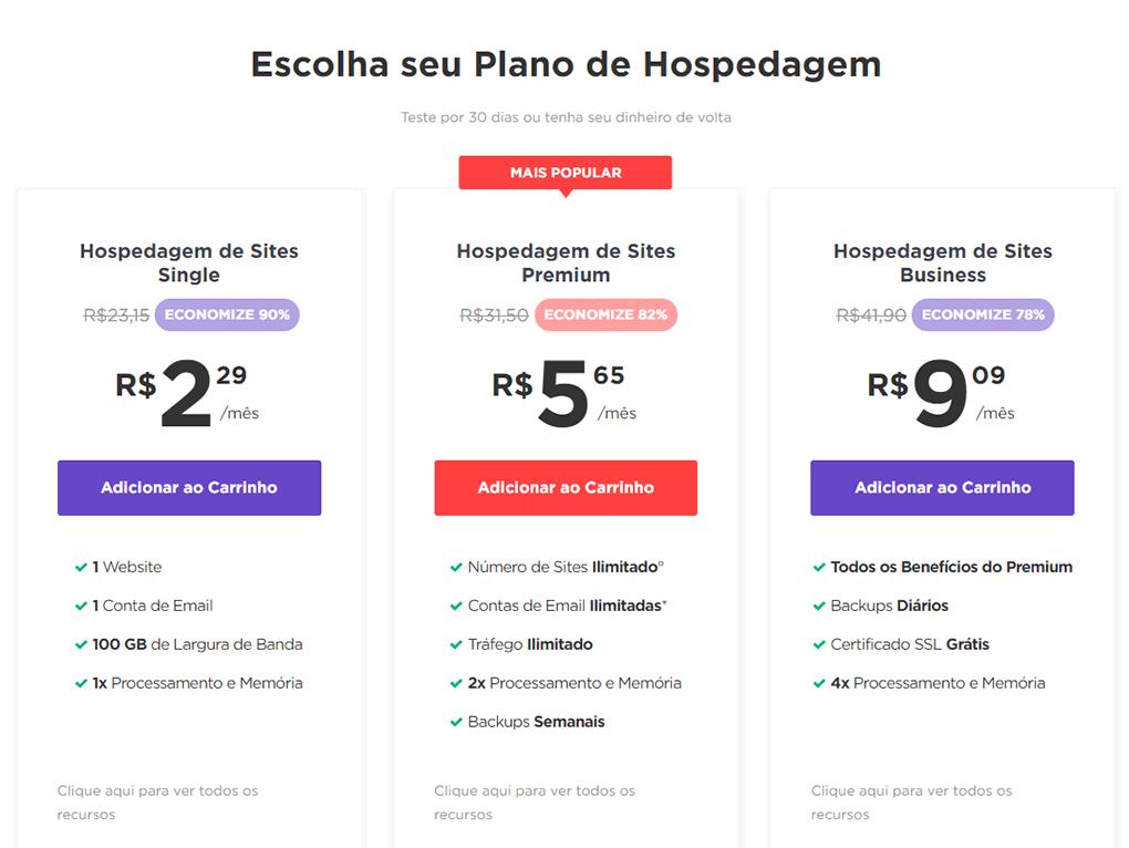 planos de hospedagem compartilhada da hostinger e seus preços