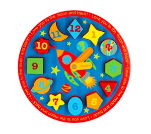 This adorable gift will grow with your toddlers as they learn how to complete the puzzle and tell time.  My 3 and 4 year old love theirs!