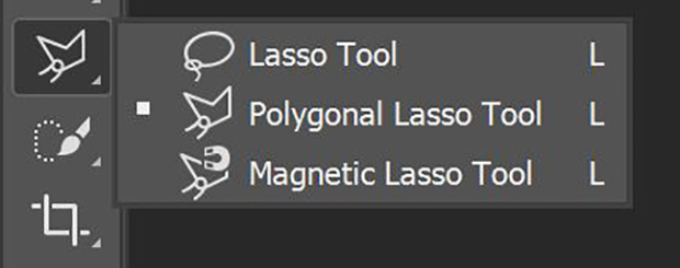 Lasso Tool, Polygonal Lasso Tool, and Magnetic Lasso Tool in Photoshop's toolbar