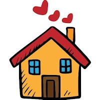 [Image is a light orange cartoon house with two blue windows, a brown door, a red roof, and red heart-shaped smoke coming out of the orange chimney.]