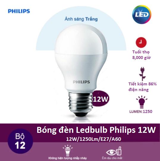 Bóng đèn Led bulb Philips 12w màu sáng trắng