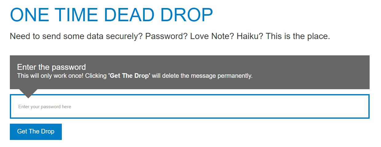 Gebruik dead drop om een wachtwoord te versturen