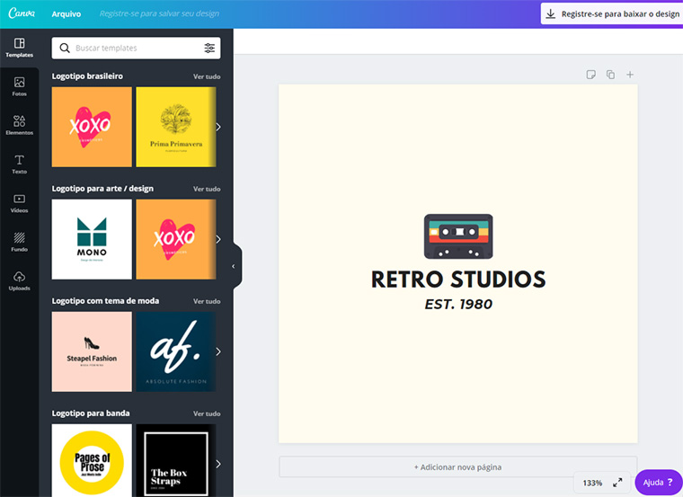 interface do criador de logos do canva