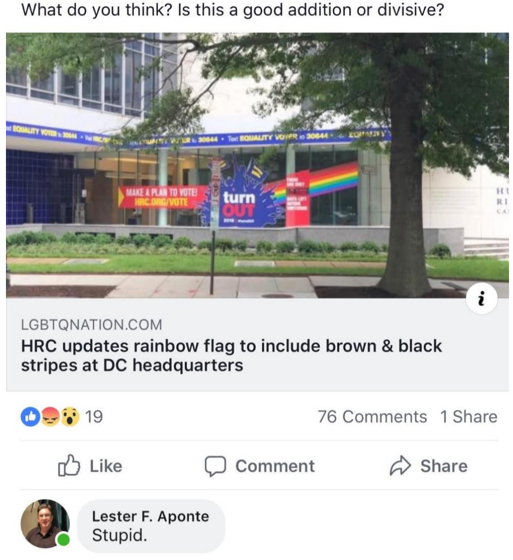 """Facebook post that reads """"What do you think? Is this a good addition or divisive?"""" with the link to an article from LGBTQNation.com and the headline """"HRC updates rainbow flag to include brown & black stripes at DC headquarters."""" There is a comment from Lester F. Aponte that reads """"Stupid""""."""