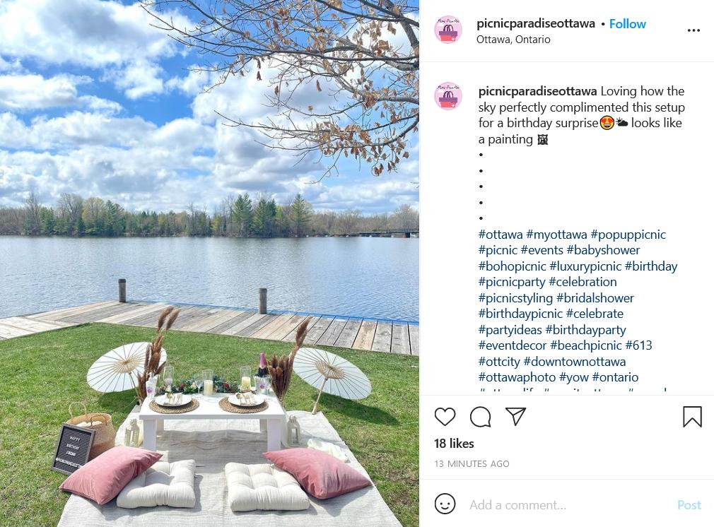 Picnic Paradise Ottawa picnic spot for couples