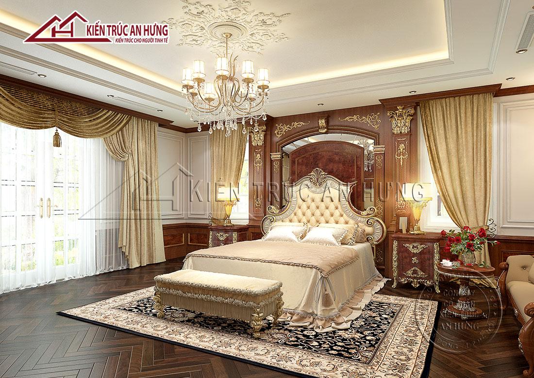 Ở thiết kế biệt thự lâu đài, phòng ngủ thường được bày biện theo lối hoàng tộc với những hoa văn nhấn nhá được chạm trổ thếp vàng đầy quyền quý