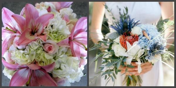 Свадебные букеты с лилиями и гортензиями