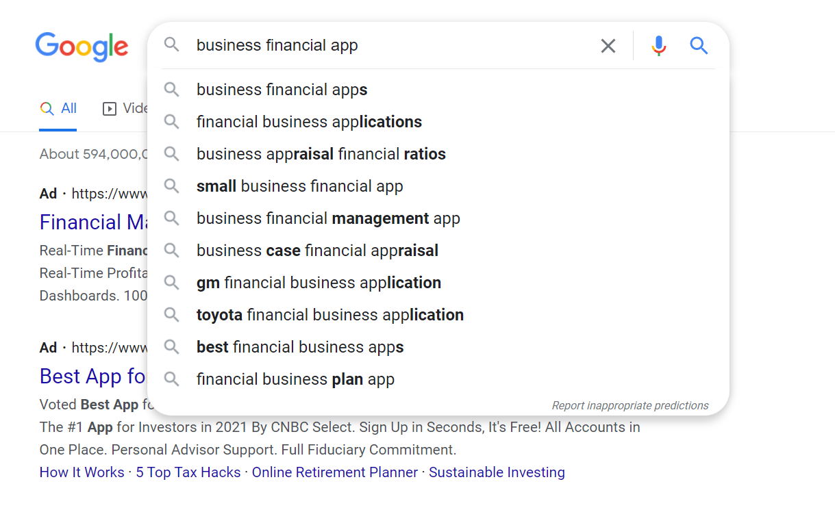 Google Search Example for a Small Business B2B Strategy