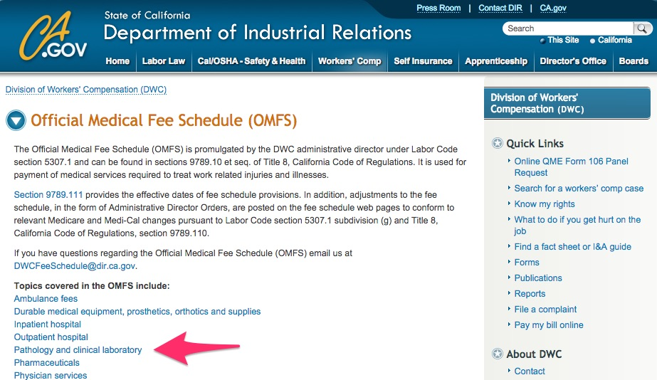 DWC OMFS - Official Medical Fee Schedule