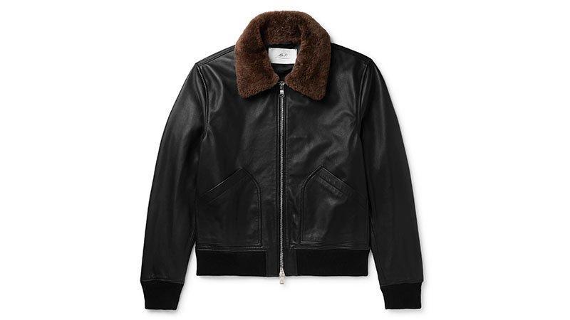 Mr P. Shearling Trimmed Leather Bomber Jacket