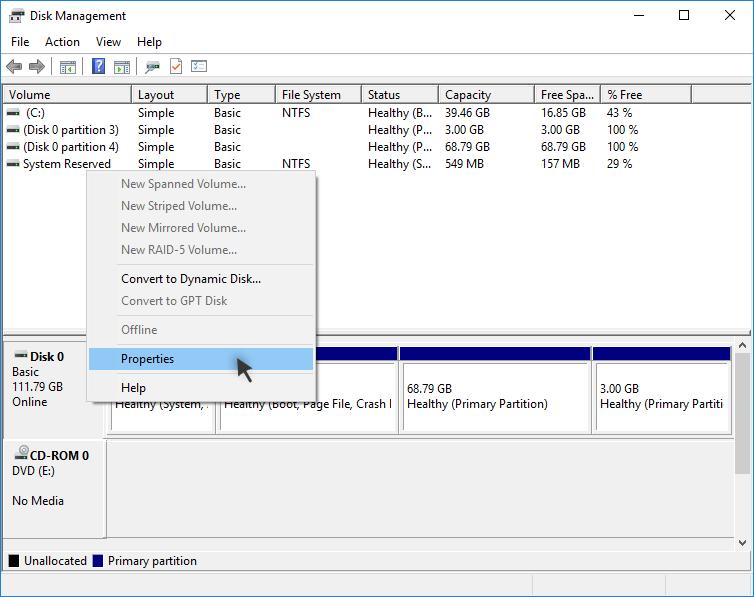 Disk Management: Properties of Disk
