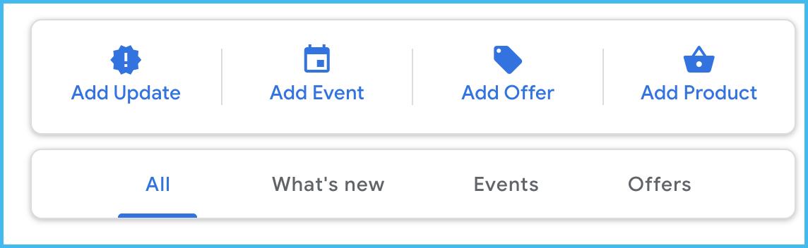 google posts menu options