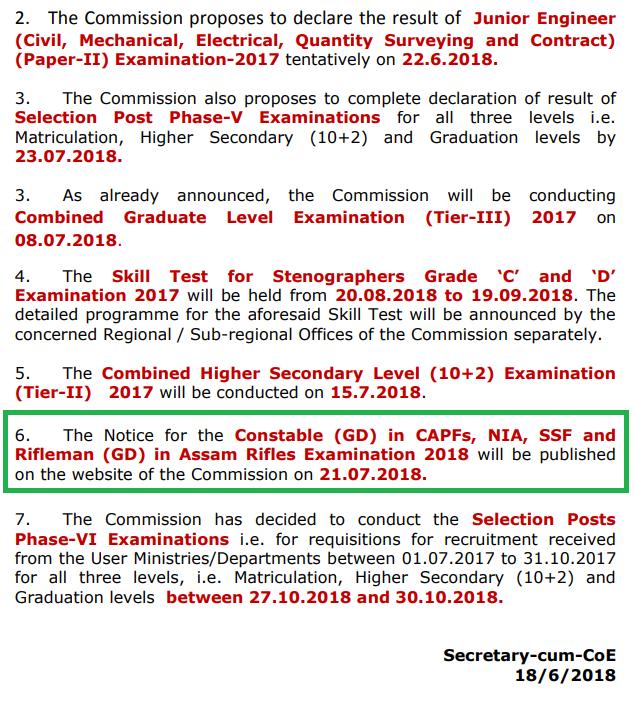 ssc gd constable notification date