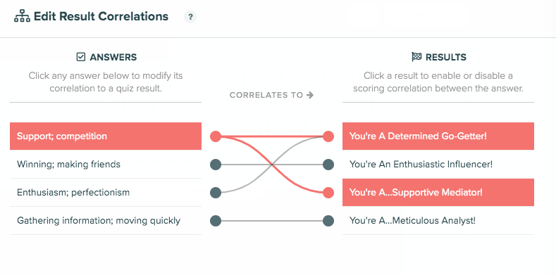 how to set up correlations for each question