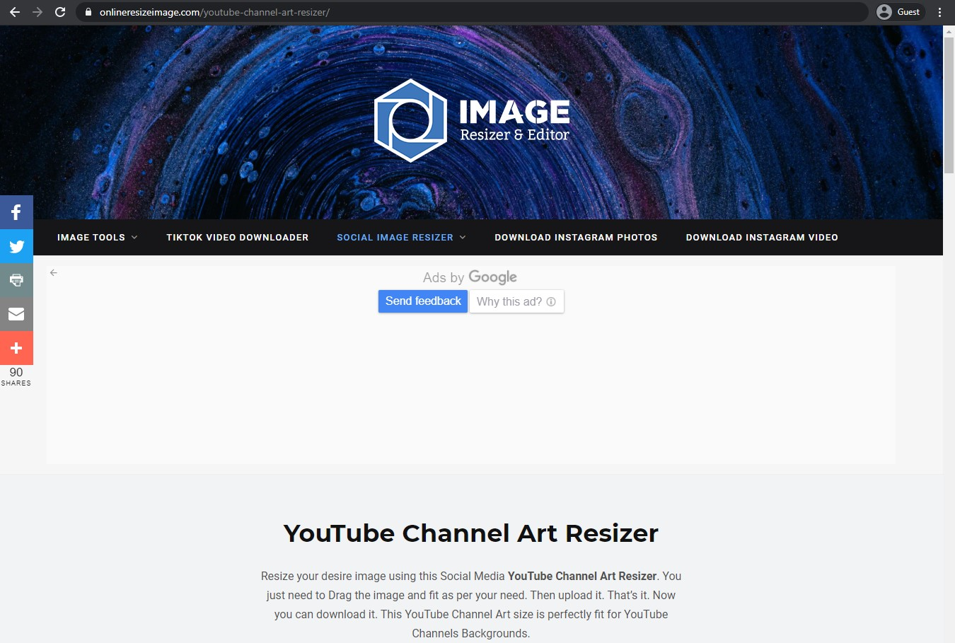 youtube channel art resizer landing page