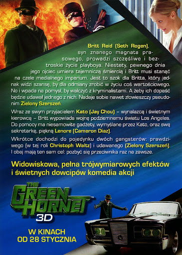Tył ulotki filmu 'The Green Hornet'