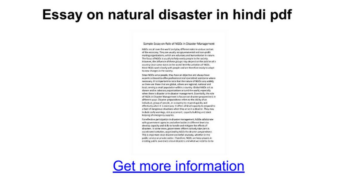 essay on natural disaster in hindi pdf google docs