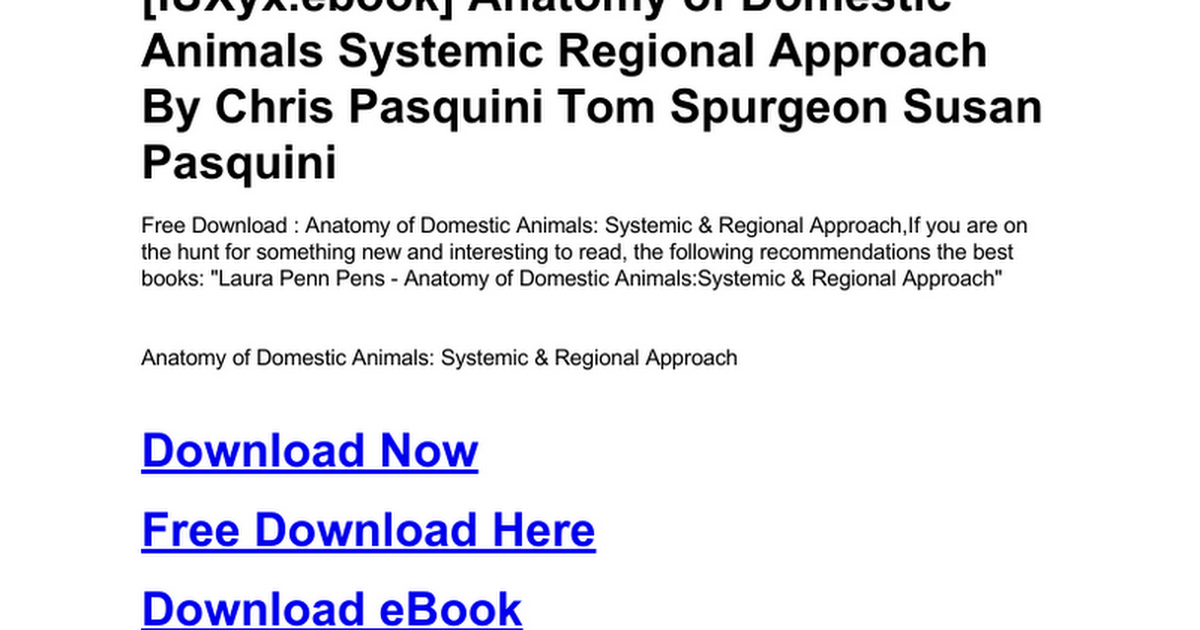 Anatomy Of Domestic Animals Systemic Regional Approachc Google Docs