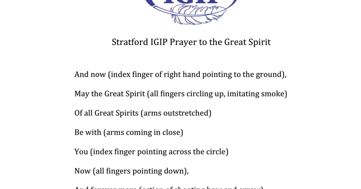 Igip Prayer To The Great Spirit Pdf Google Drive