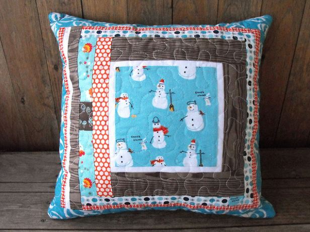 Quilted Pillow Featuring Snowman Patterned Fabric