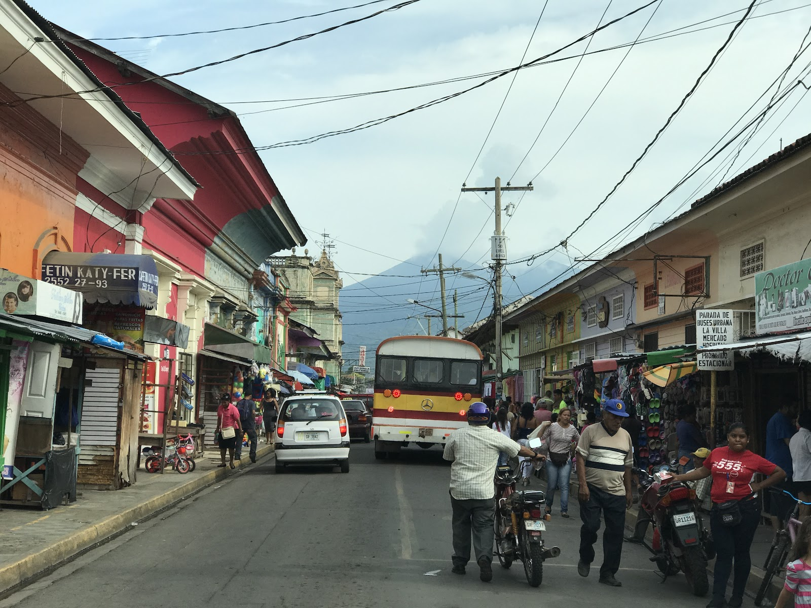 Granada Nicaragua - downtown, buses and crowded streets