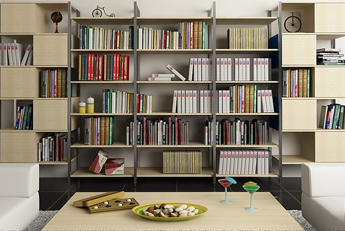 Phòng đọc sách được sắp xếp gọn gàng và khoa học