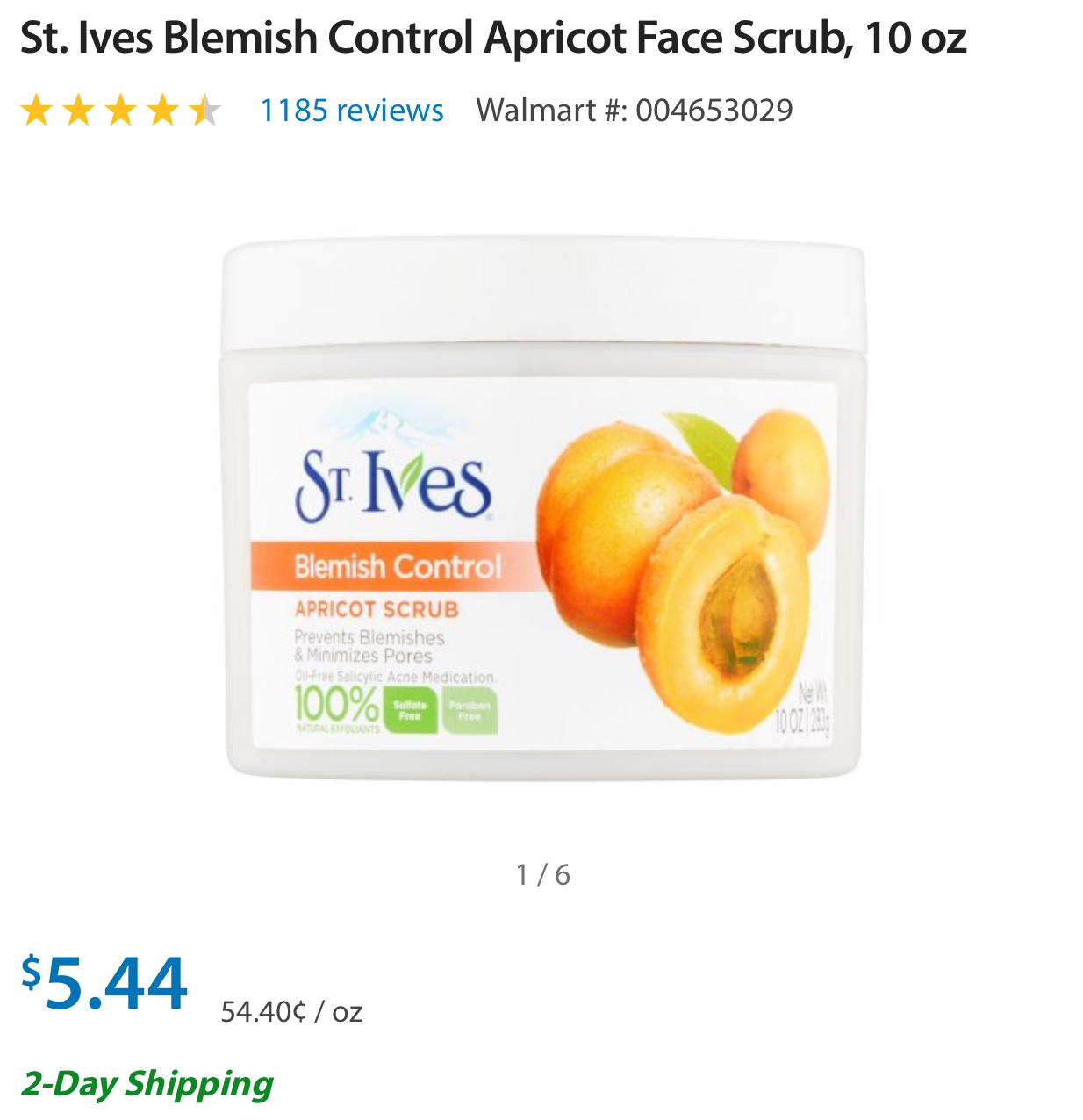 St. Ives Apricot Scrub Super Cheap Exfoliant (+ Blemish Control!)