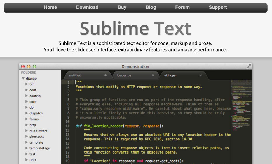 Sublime Text can be used for Node.js and Javascript programming