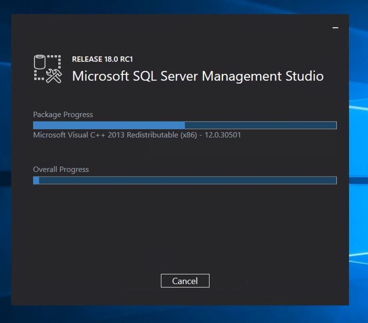 SQL Server Management Studio 2017 Installer in progress.