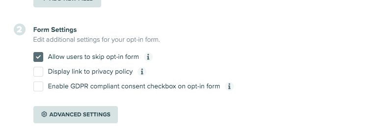 form settings for opt-in form