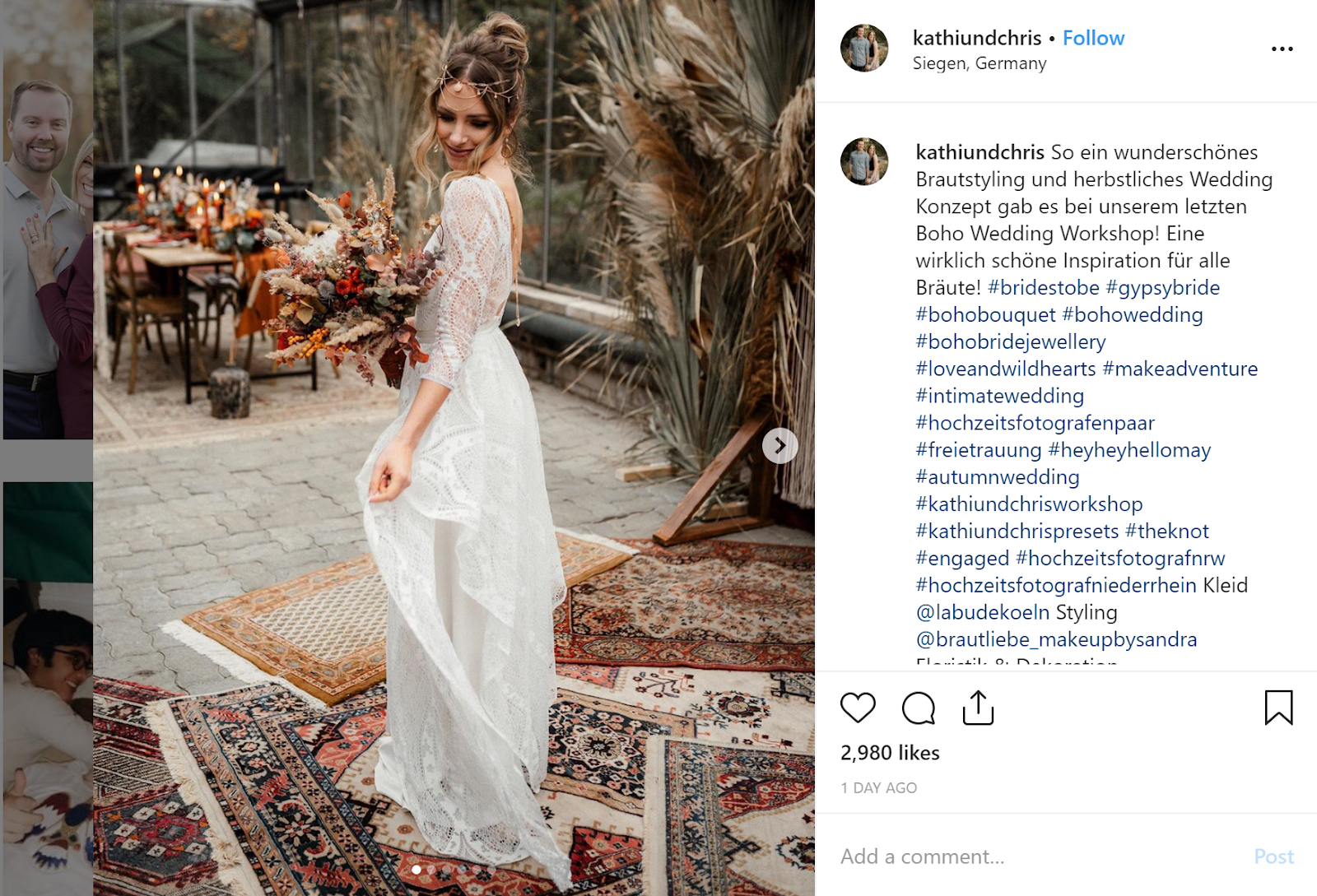 Woman in bridal gown holding flowers instagram marketing carousel post.