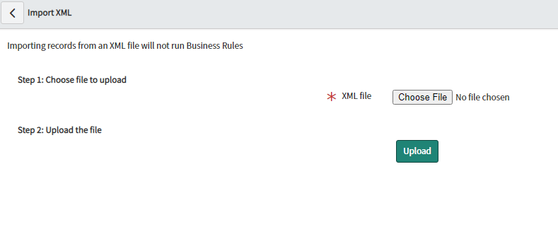 upload the xml file to servicenow
