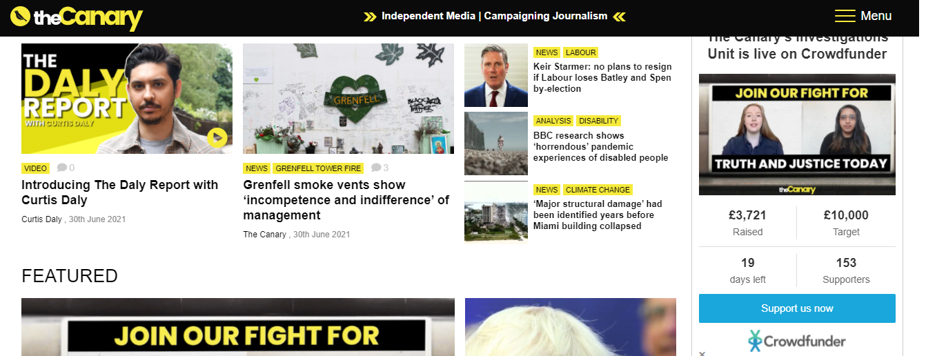 The Canary homepage