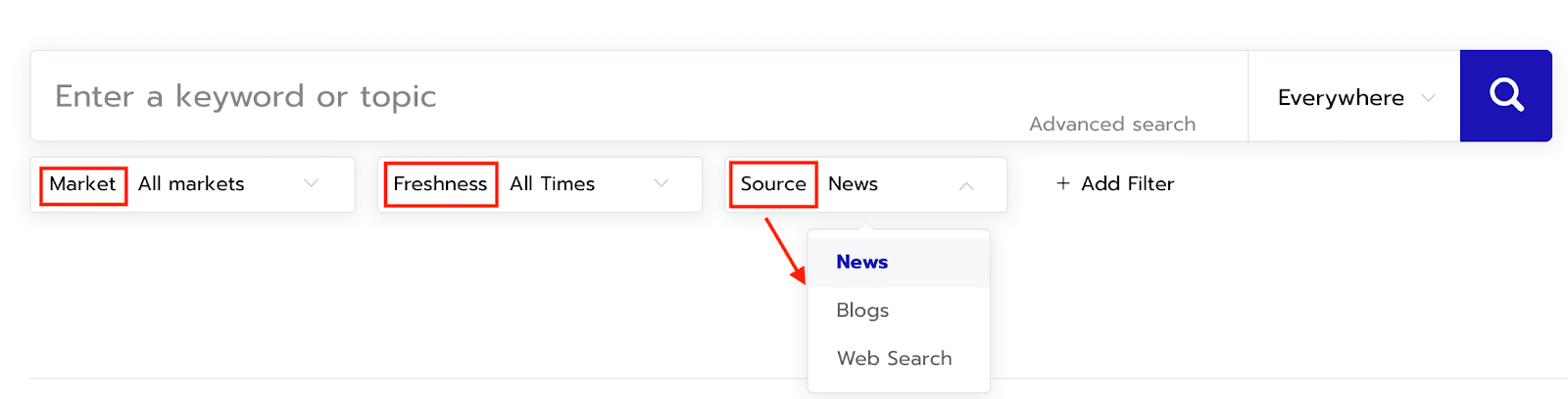 Screenshot of Respona's content search filters