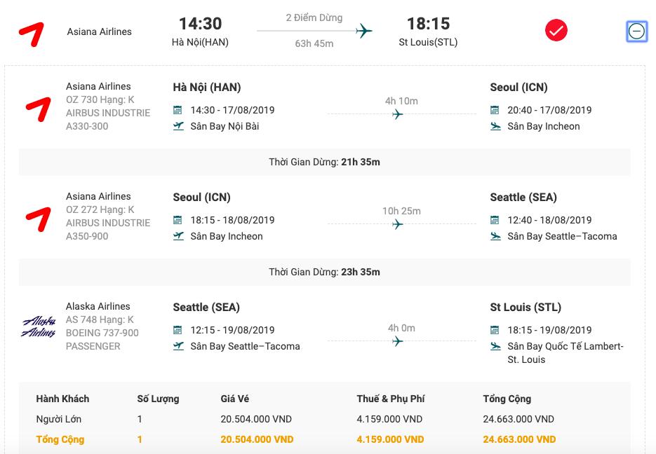 Vé máy bay từ Hà Nội đi Saint Louis của Asiana Airlines