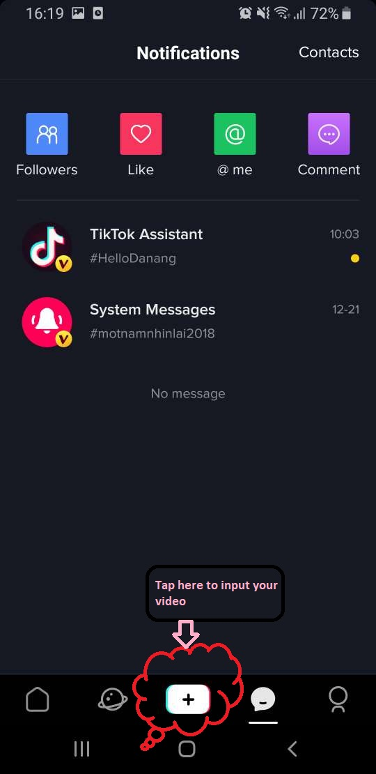 input your video to Tik Tok