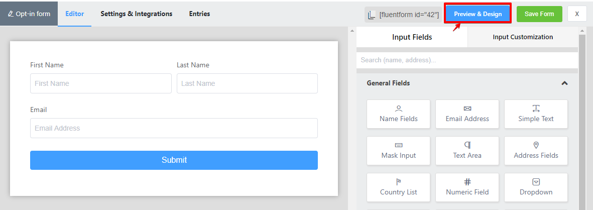 free opt in form, WP Fluent Forms, plugin
