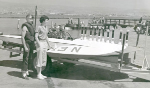 Joe and cousin in 1949 at Oakland Estuary, next to 225 hydroplane topped with his trophies