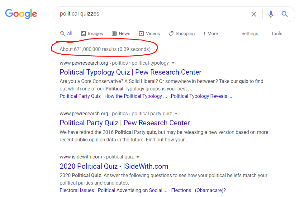 Google results for political quizzes