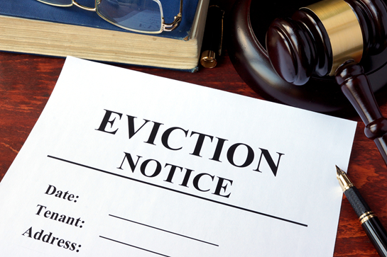 Eviction notice with judge's gavel