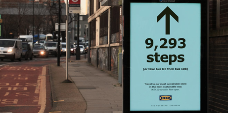 Bus shelter ad featuring IKEA's Steps Campaign and giving the number of steps until the nearest IKEA store location.