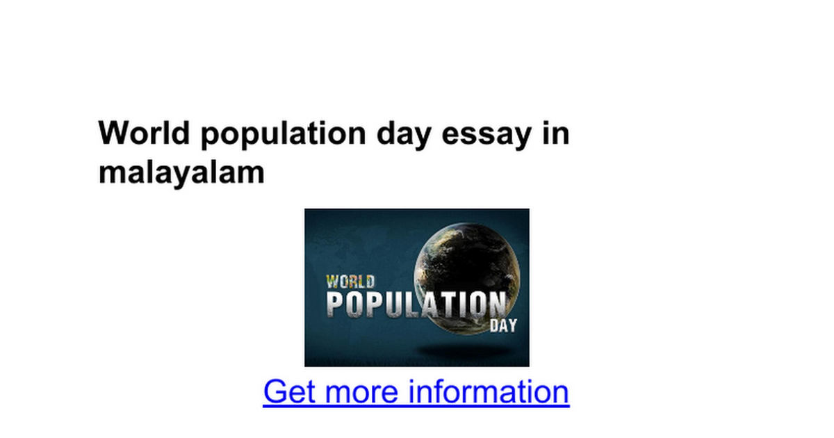 world population day essay in malayalam google docs