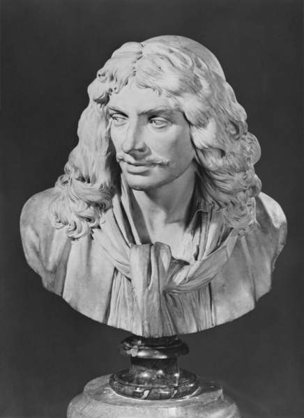 Image of a Bust of Jean-Baptiste Poquelin, known as Moliere, 1781 (terracotta) (b/w photo), Houdon, Jean-Antoine (1741-1828) / French, Musee des Beaux-Arts, Orleans, France, © Bridgeman Images