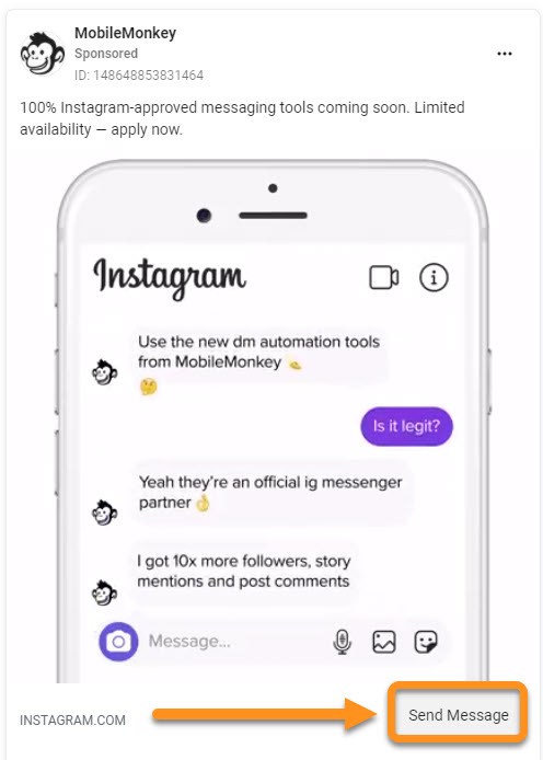 Instagram auto DM examples for Instagram Direct Message Ads