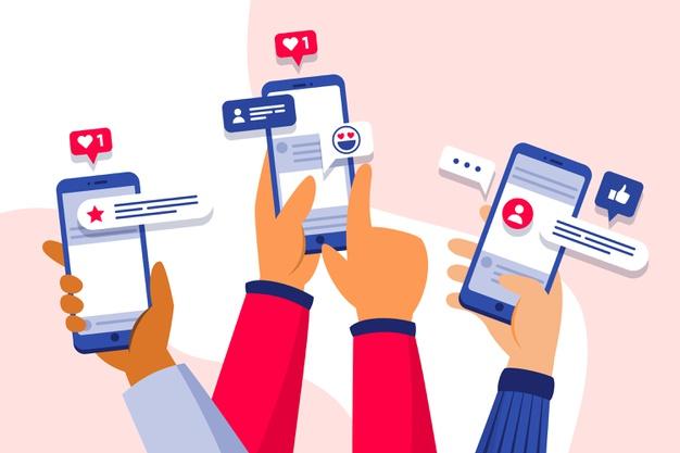 mídias sociais em produtos