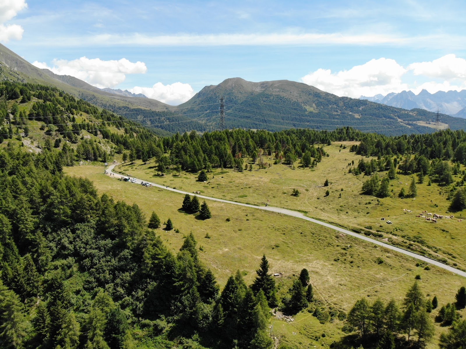 Cycling Passo del Mortirolo  - aerial drone photo of the pass